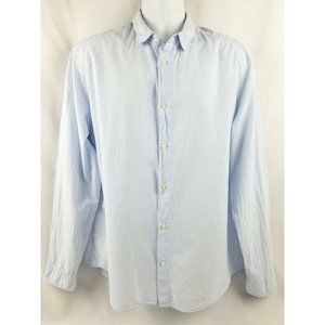 Button Front Shirt Blue White Striped Long Sleeve
